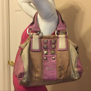 Marciano large leather bag pink tan